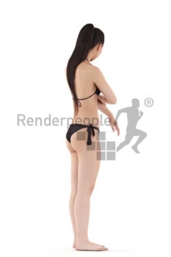 Realistic 3D People model by Renderpeople – asian woman in swimmwear, putting on sunscreen