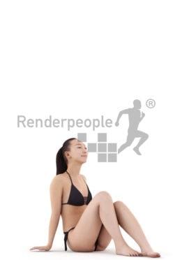 Scanned human 3D model by Renderpeople – asian woman in black bikini sitting