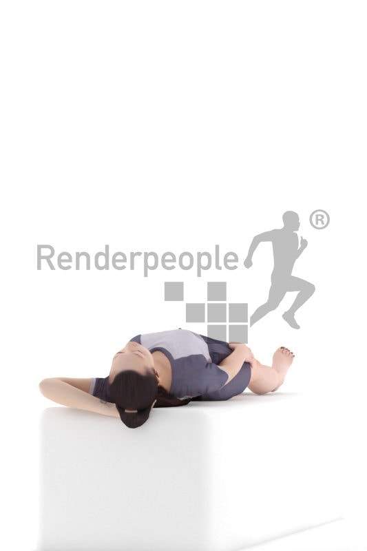 Realistic 3D People model by Renderpeople – asian woman in summer pyjama, laying in her bed