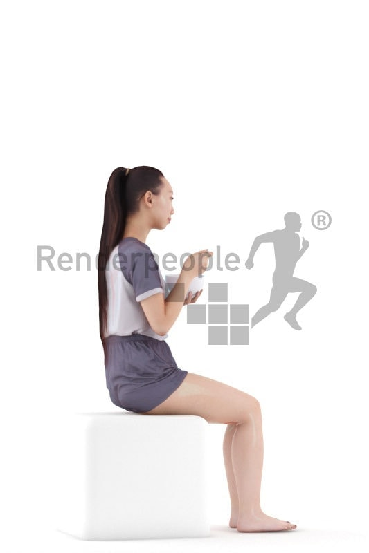 3D People model for 3ds Max and Blender – asian woman in shorty pyjama, sitting and eating cornflakes