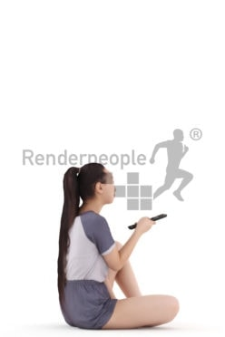 Posed 3D People model for visualization – asian woman in sleepwear, sitting and using the remote controller