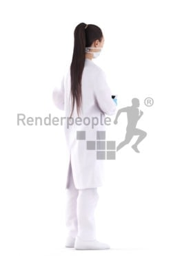 3D People model for 3ds Max and Maya – asian woman in medical wear showing something on the tablet