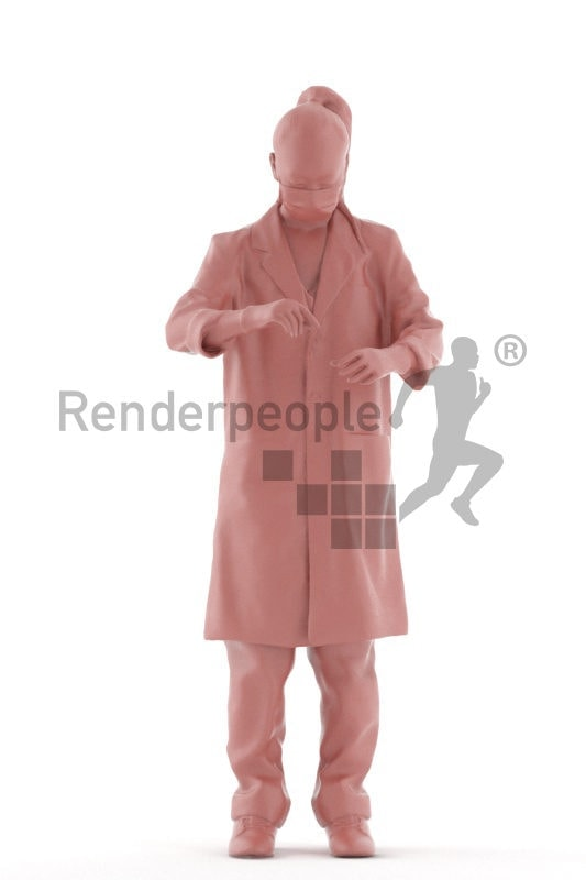 3D People model for 3ds Max and Maya – asian woman in lab kit, doing an experiment