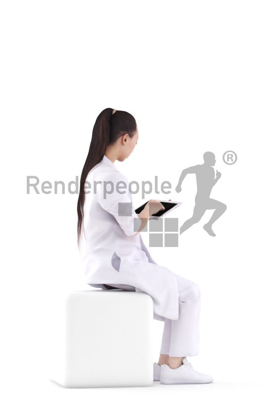 Realistic 3D People model by Renderpeople – asian woman in doctors kit, sitting and doing something with a tablet