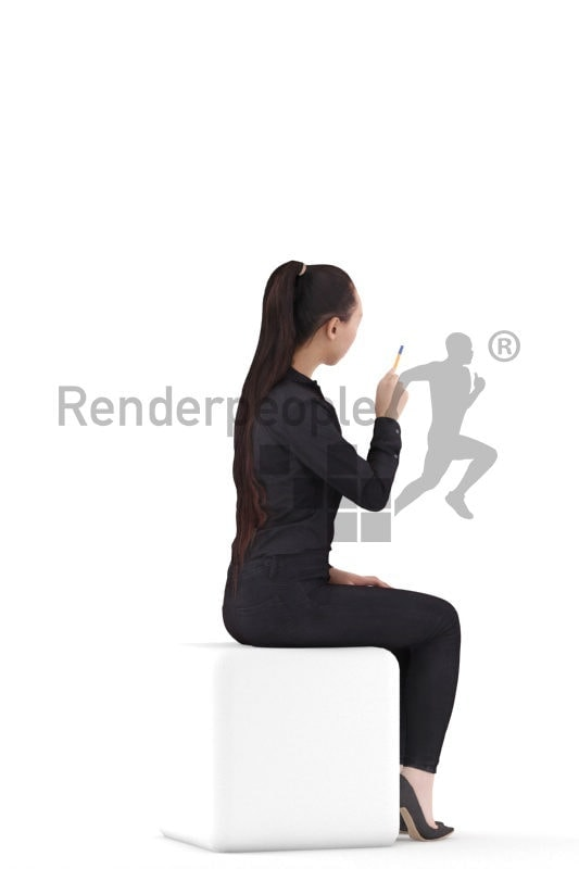 Scanned 3D People model for visualization – asian female in business look, sitting and pointing on something with a pen