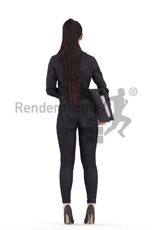 Scanned 3D People model for visualization – asian female in business look, holding a folder