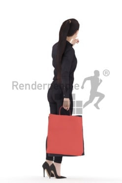 Scanned 3D People model for visualization – asian female in business look, walking trough the mall with paperbags and pointing on something