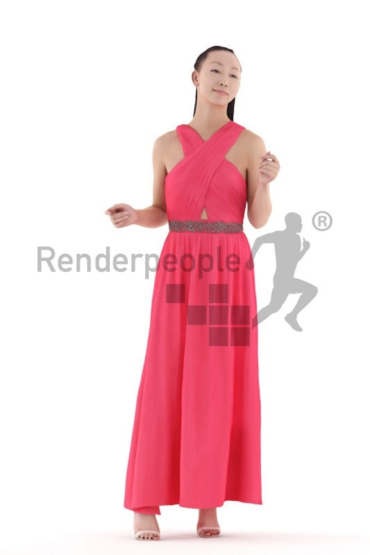 3D People model for 3ds Max and Cinema 4D – asian woman dancing at an event in maxi dress