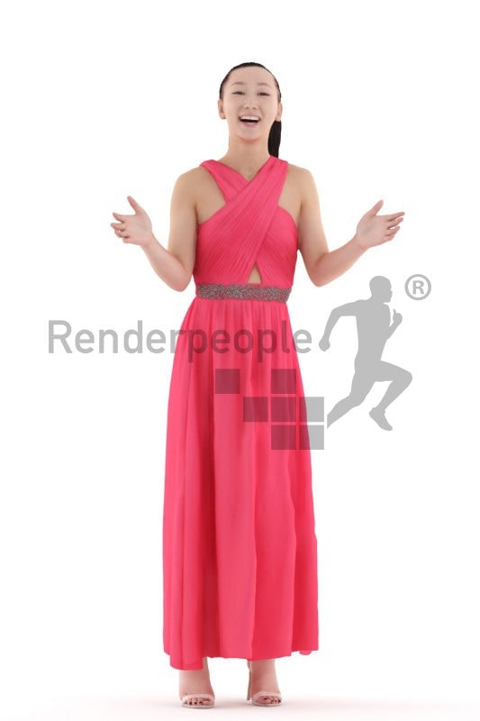 Scanned 3D People model for visualization – asian female in maxi event dress, standing and communicating
