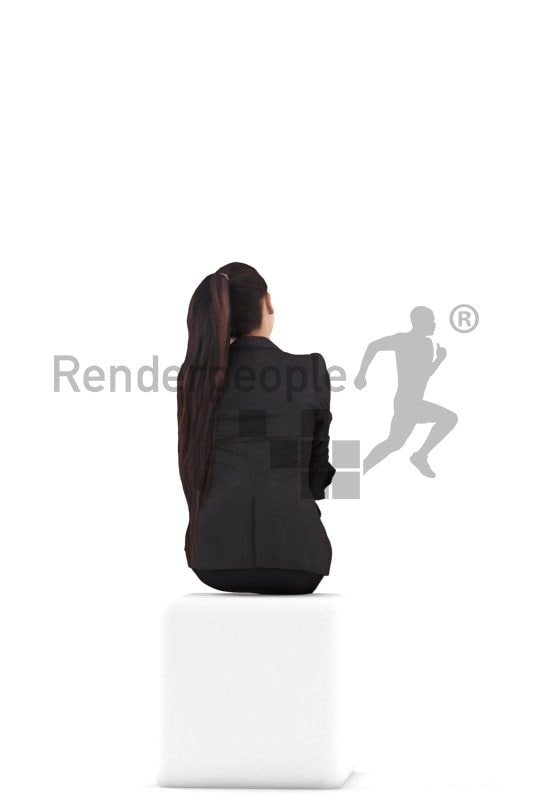 Posed 3D People model by Renderpeople – asian woman in business clothes, sitting and listening