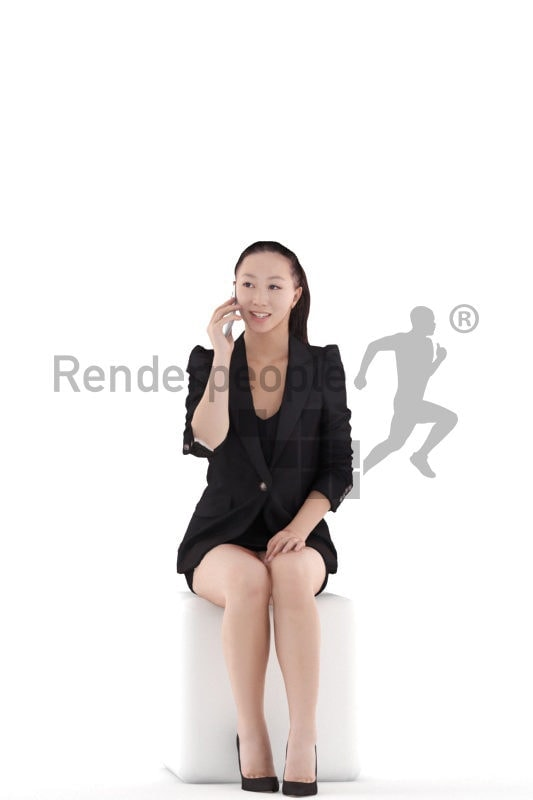 Realistic 3D People model by Renderpeople – asian woman in office look, sitting and calling