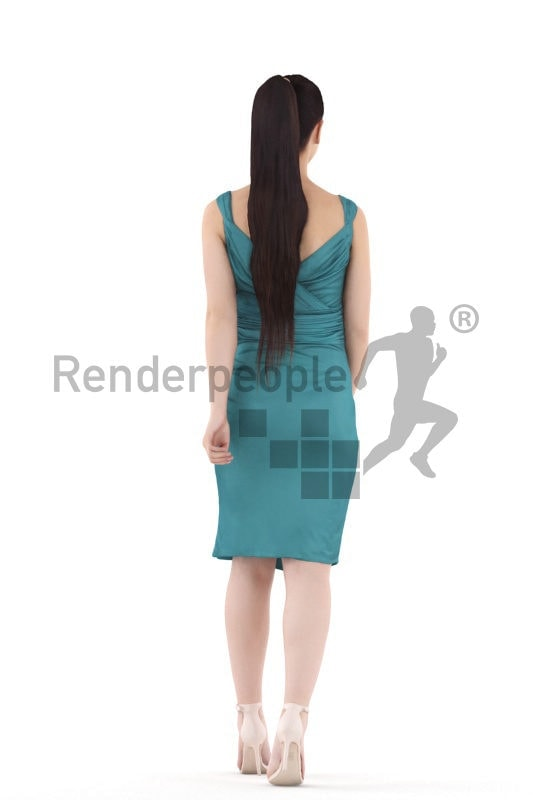 Scanned 3D People model for visualization –asian female in event dress, walking