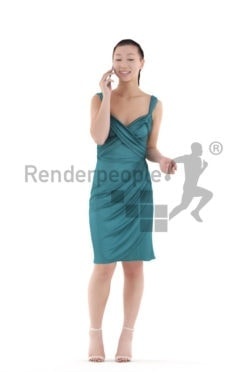 Scanned human 3D model by Renderpeople – asian woman in event look., standing and calling