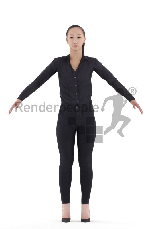Rigged 3D People model for Maya and 3ds Max – asian woman in business clothes