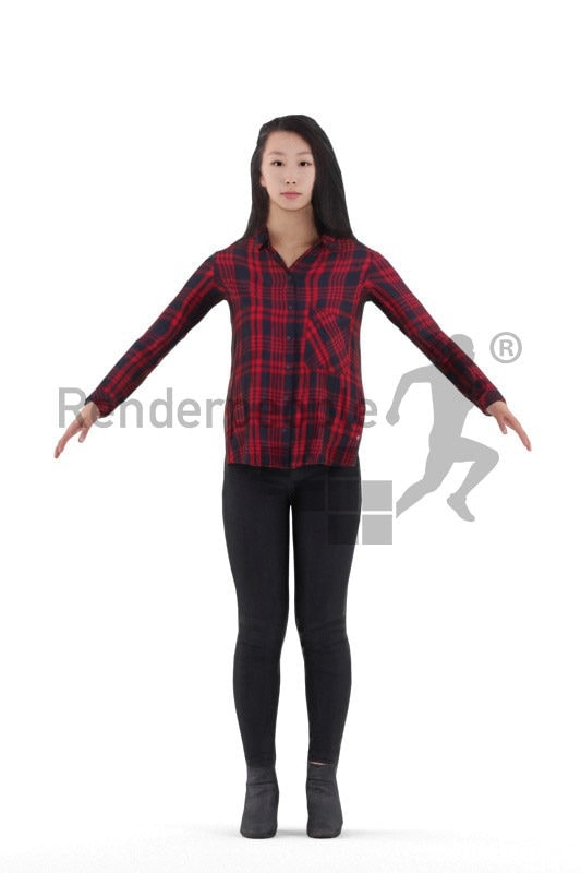 Rigged and retopologized 3D People model – asian woman in daily look