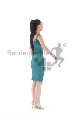 3d people event, asian woman rigged