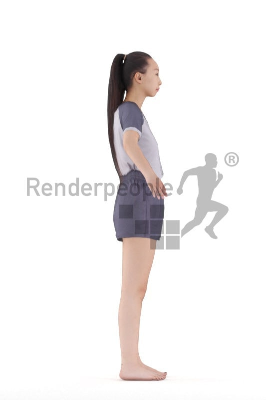 Rigged 3D People model for Maya and Cinema 4D – asian woman in sleep wear