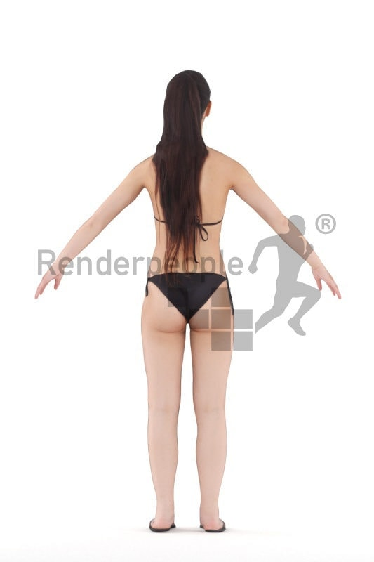 Rigged 3D People model for Maya and Cinema 4D – asian woman in swimm wear