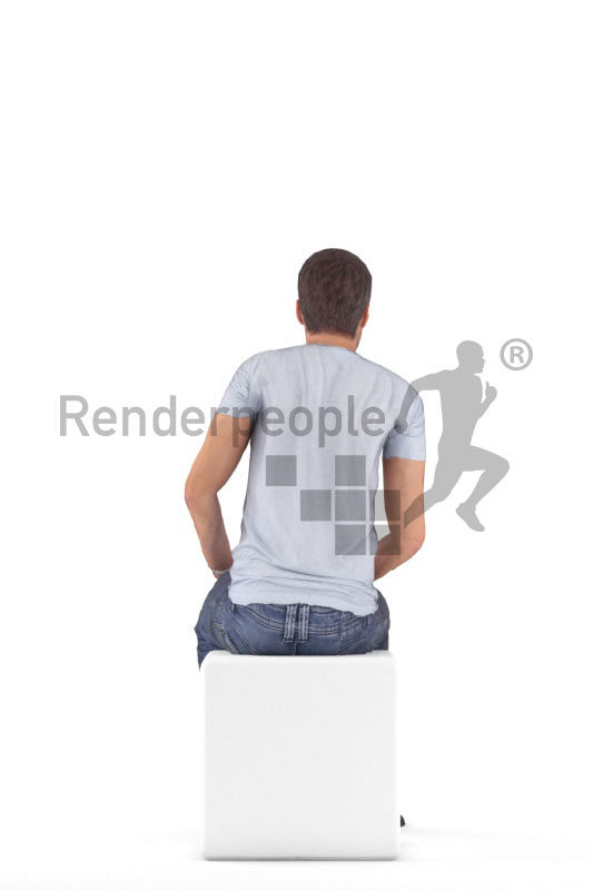 Animated 3D People model for visualization – white man in daily look, sitting
