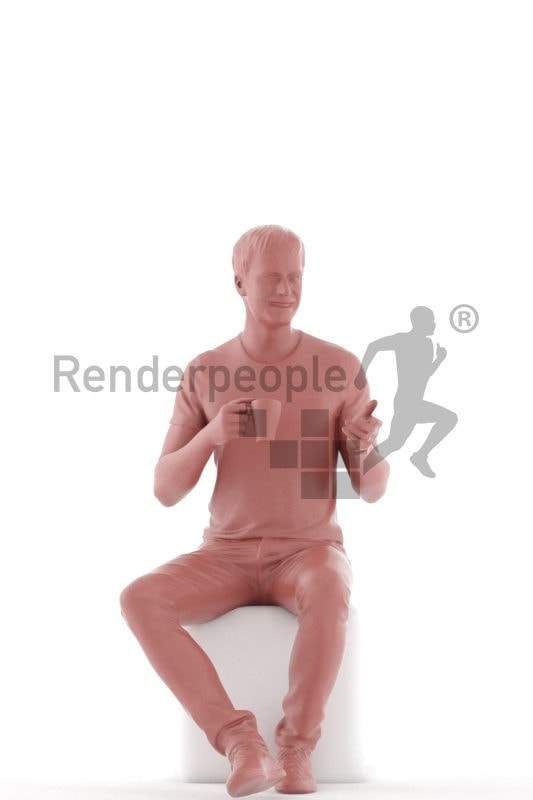 3D People model for 3ds Max and Sketch Up – european man in t-shirt, sitting and drinking coffee