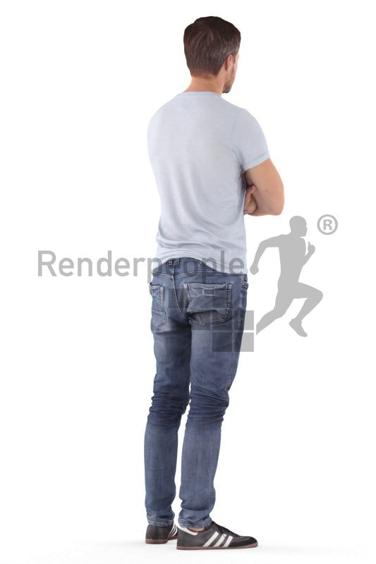 3D People model for 3ds Max and Sketch Up – white man in casual t-shirt, standing