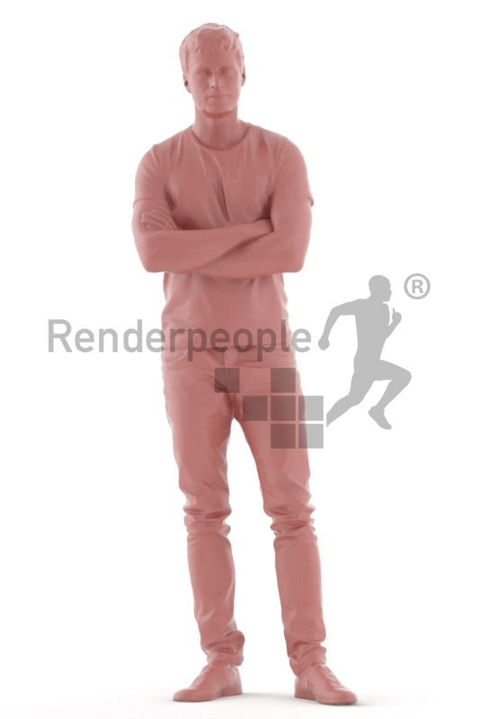 3D People model for 3ds Max and Sketch Up – white man in casual pullover, standing