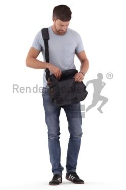 3D People model for 3ds Max and Blender – european man, searching for something in his bag
