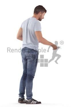 Realistic 3D People model by Renderpeople – european man in daily wear, preparing the table