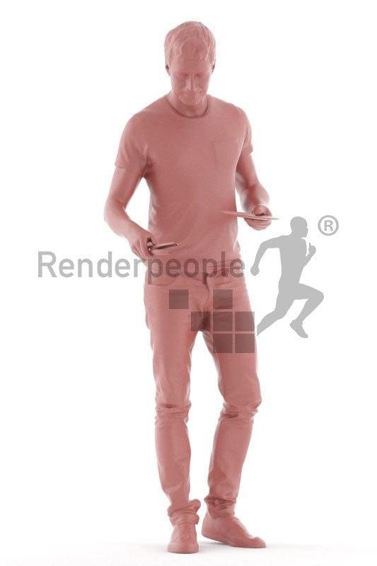 Realistic 3D People model by Renderpeople – european man in daily wear, preparing the table