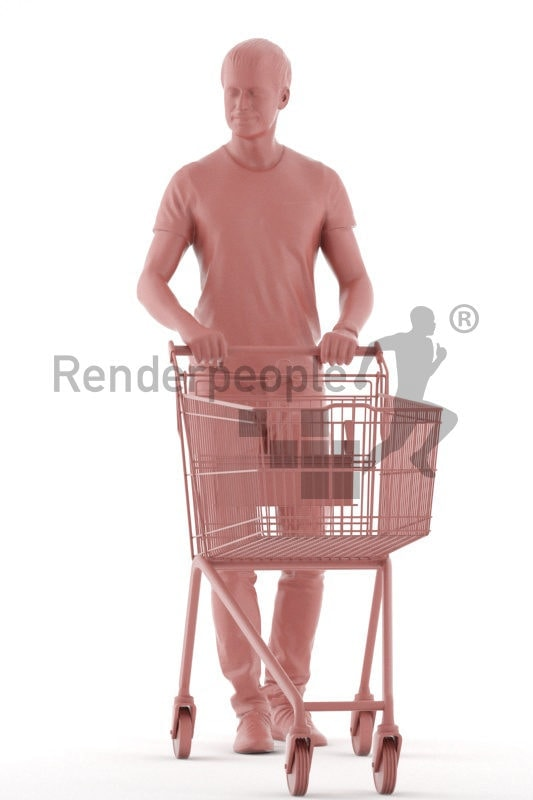 Posed 3D People model by Renderpeople – european man in a daily outfit, walking with a shopping cart