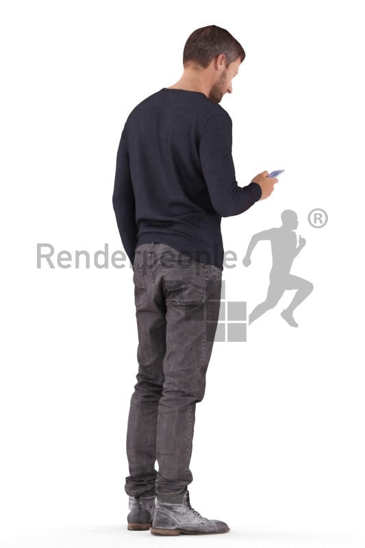 Photorealistic 3D People model by Renderpeople – white man in casual look, standing and texting