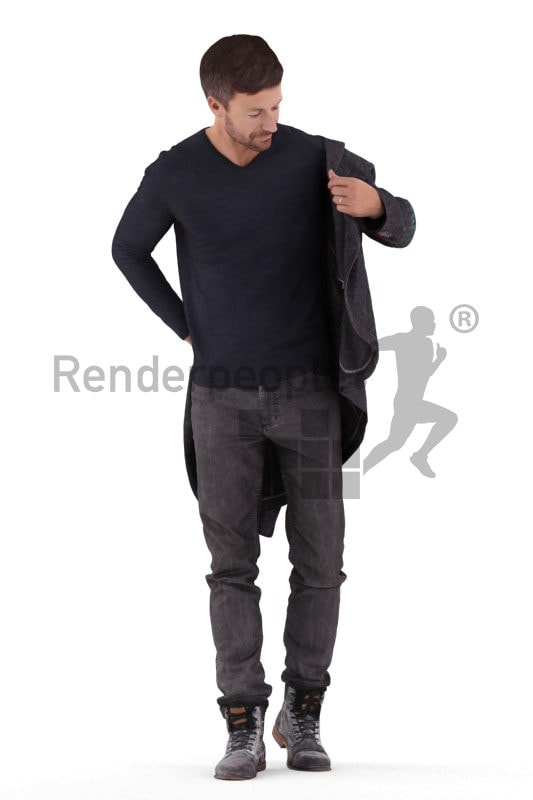 Photorealistic 3D People model by Renderpeople – european man in casual look, putting on his jacket
