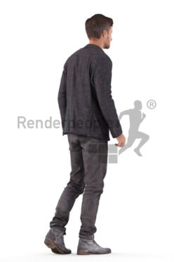 Realistic 3D People model by Renderpeople – white male in smart casual outfit, walking