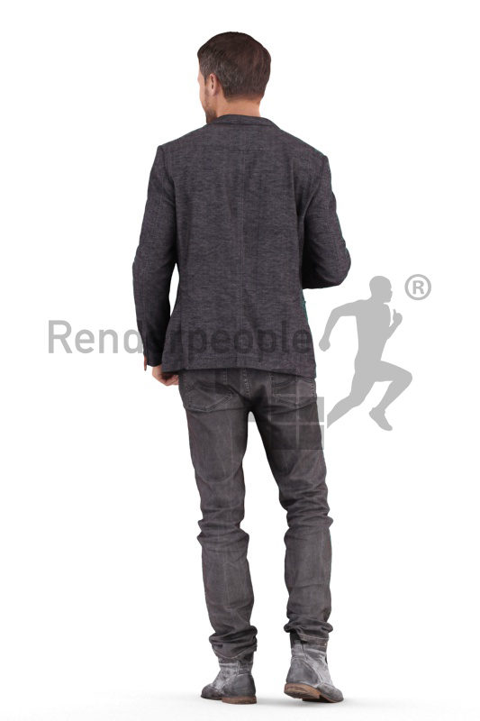 3D People model for 3ds Max and Cinema 4D – euroepan man in smart casual look, walking and drinking coffee
