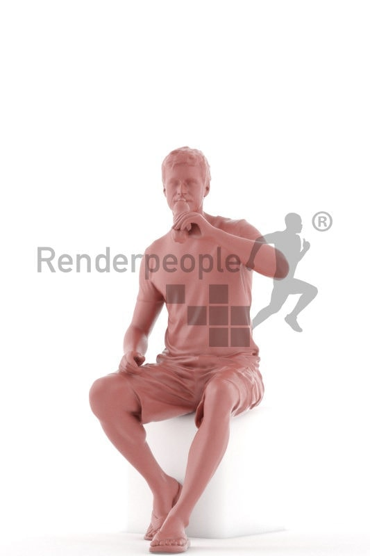 Photorealistic 3D People model by Renderpeople – white man in casual summer look, sitting and drinking water