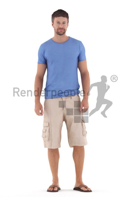Photorealistic 3D People model by Renderpeople – white man in casual summer look, standing