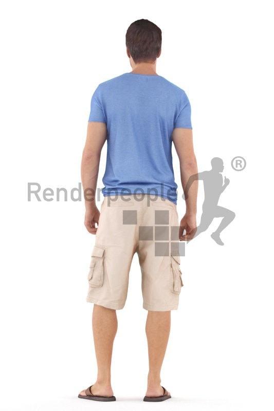 Photorealistic 3D People model by Renderpeople – white man in casual summer look, standing