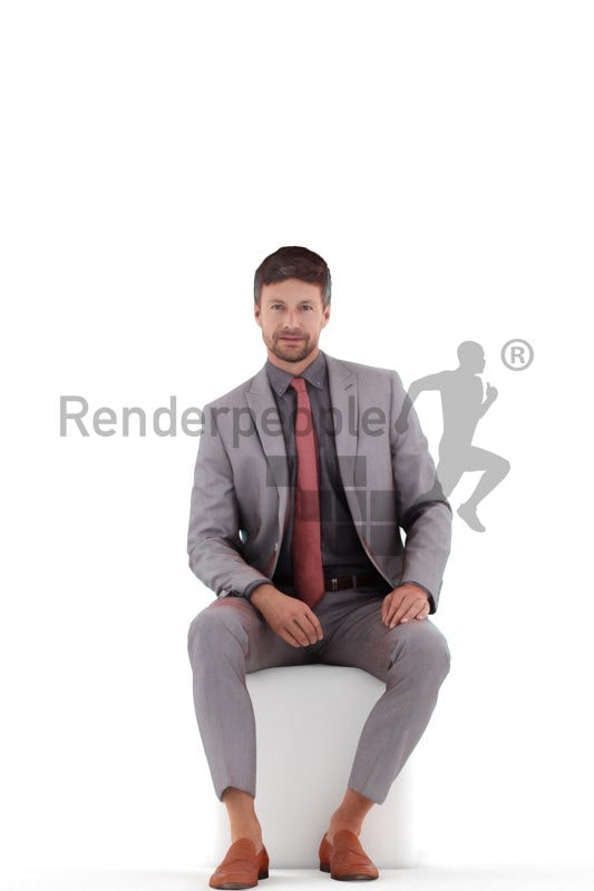 Posed 3D People model for visualization – european man in business suit, office look, sitting