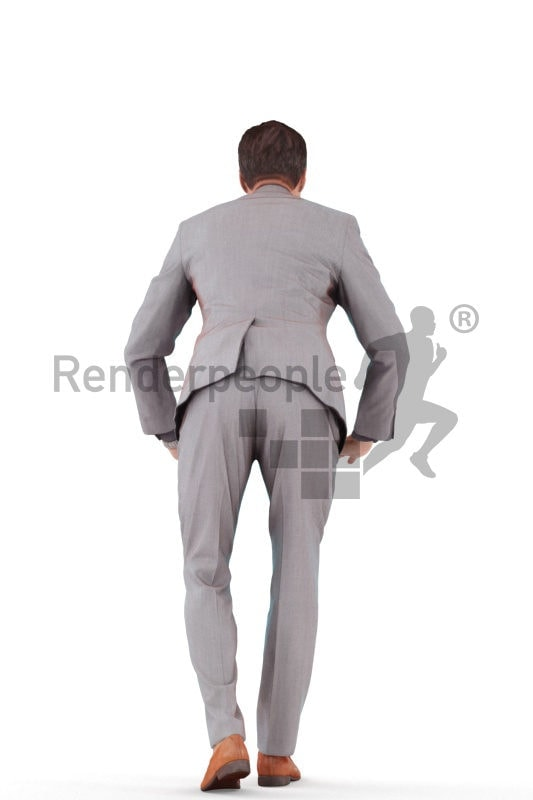 Photorealistic 3D People model by Renderpeople – european man in business suit, leaning on the table