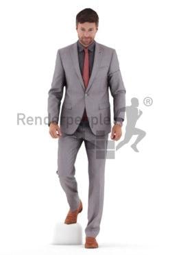 Photorealistic 3D People model by Renderpeople – european man in business suit, walking downstairs