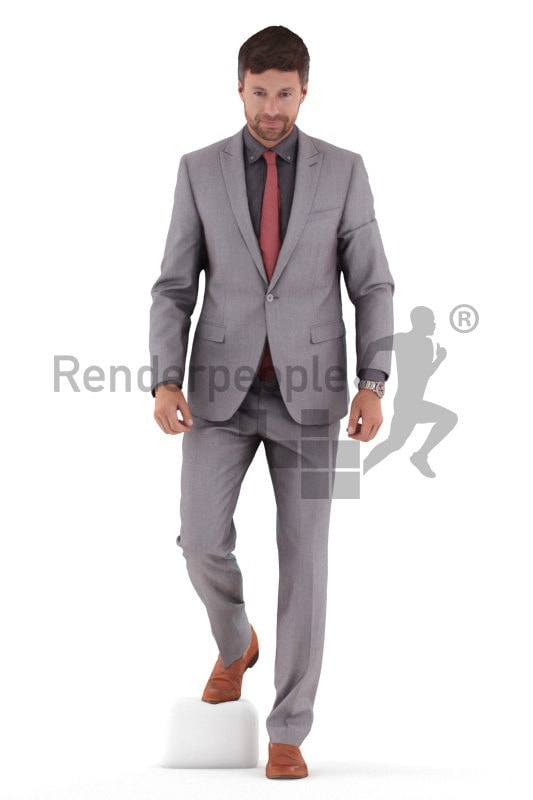 Photorealistic 3D People model by Renderpeople – european man in business suit, walking downstairs