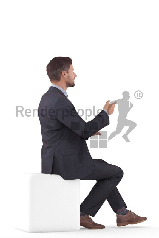 Photorealistic 3D People model by Renderpeople – european man in business suit, sitting and talking
