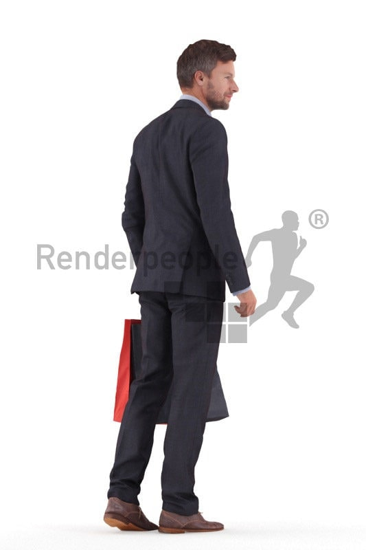 3D People model for 3ds Max and Cinema 4D – european man in business suit, walking with paperbags