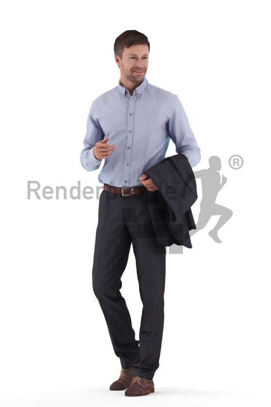 Realistic 3D People model by Renderpeople – european male in business suit, walking
