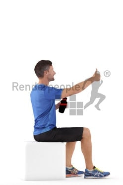 3D People model for 3ds Max and Sketch Up – european male in sportsdress, sitting and interacting, holding a bottle