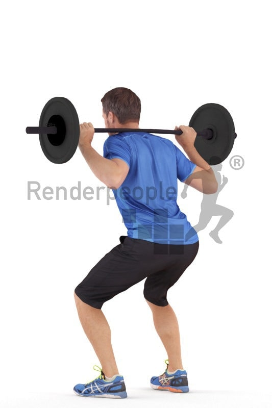 3D People model for 3ds Max and Maya – european man in sports clothing, lifting weights