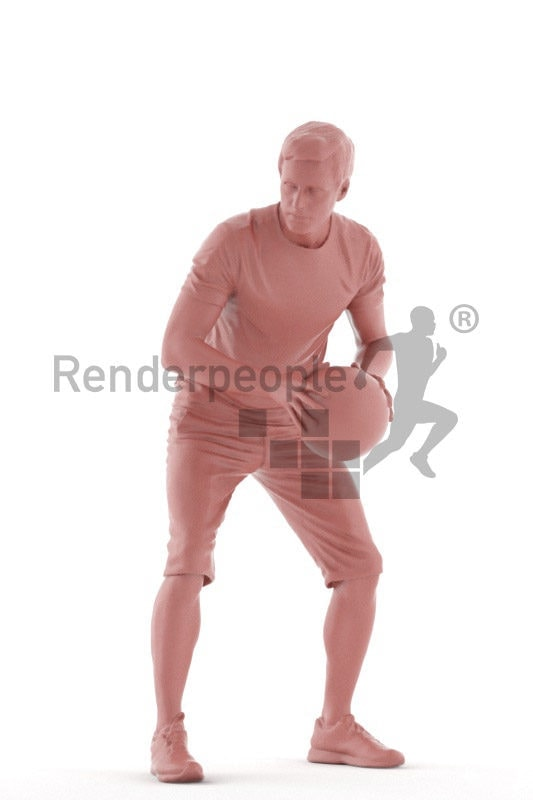 3D People model for 3ds Max and Maya – european man in sports clothing, playing basketball