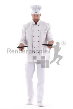 Posed 3D People model for visualization – european male gourmet, serving plates