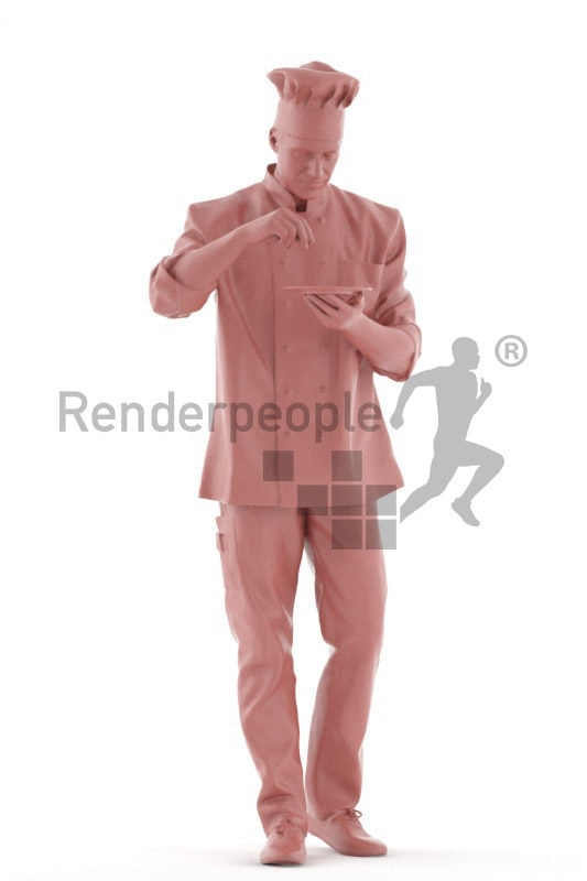 Posed 3D People model for visualization – european male gourmet, preparing a plate