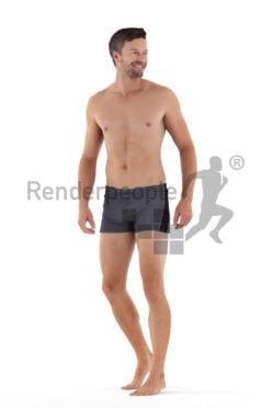Scanned human 3D model by Renderpeople – european man in swimmshorts, walking and talking